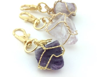 Crystal Keychain - Boho Chic Bag Charm -Gifts Under 15 For Her - Handbag Charm - Womens Purse Clip Key Chain - Amethyst Fluorite Quartz Gift