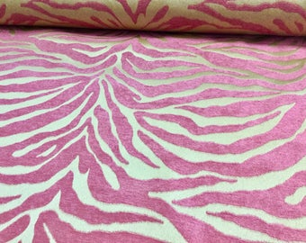 """57"""" Wide Serengeti Pink Beige Tiger Animal Fur Pattern Chenille Upholstery Fabric for Sofa Couch Chair Draperies Pillow Ottoman Animal Print"""