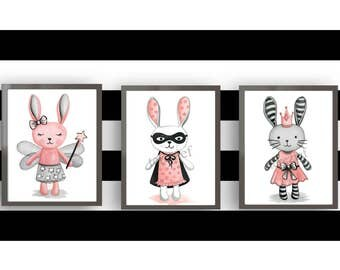 bunny art prints, superhero bunny art, girls nursery art,  bunny wall art decor, rabbit bedding art