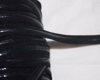 "2 yards Black flat lingerie bra strap elastic No Slip silicone stripe back 1/2"" wide"