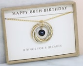 80th birthday gift for her, black pearl jewelry, necklace for 80th, grandma gift - Lilia