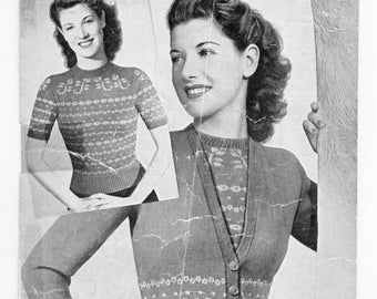 SALE Vintage 1940's and 1950's cardigans sweaters 4 original knitting patterns fair isle lacy knit cable knit collared sweater