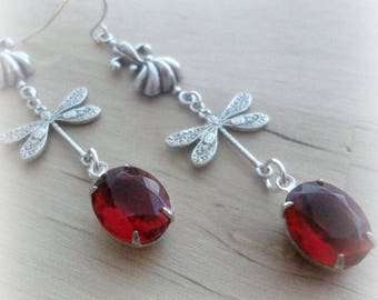 Dragon Fly Jewelry - Dragonfly Earrings - Victorian Jewelry - Romantic Earrings - Vintage Style - Red Jewelry - Dragonfly Jewelry