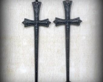 Long Sword Earrings Black Cross Earrings Gothic Jewelry Earrings Gothic Black Cross Earrings Girlfriend Gift Heavy Metal Goth Punk
