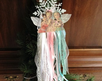 Victorian Three Angels Christmas Ornament/Door Hanger - Ribbon and Lace Skirts