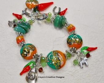 Charm Bracelet - Lampwork Statement Bracelet - Western Charm Bracelet - Southwest Charm Bracelet - SOUTHWEST CHILI PEPPERS