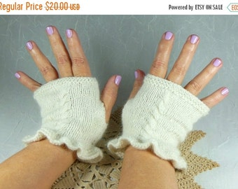 Holiday SALE Hand Knit Fingerless Mitts in White Angora and Wool