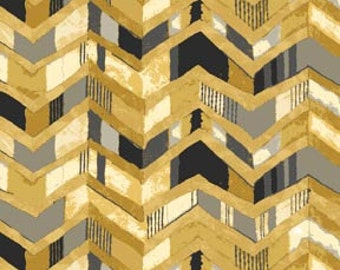 Le Jardin from P & B Textiles - Full or Half Yard Modern Gold, Black, Gray Chevron