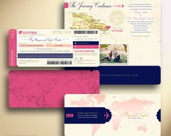 MEGHAN Boarding Pass Airline Ticket Destination Wedding Invitation