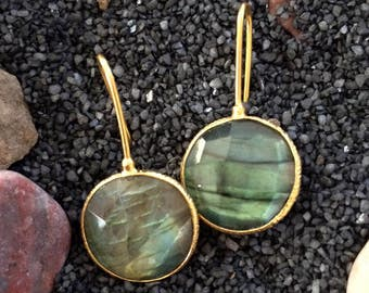 Labradorite Earrings-Minimalist Earrings-Bridal earrings- Bezel set - 925 sterling silver Modern Jewelry- Gold vermeil-Gemstone - Taneesi