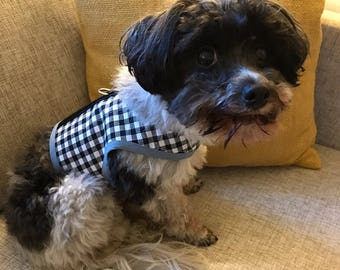 New Gingham Small Dog Harness, black and white check, Made  in USA