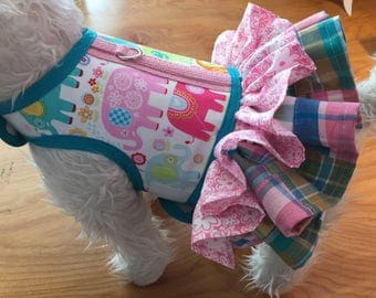 Small Dog Harness, Happy Elephant and Madras plaid  double ruffle, Made in USA, dog harnesses, pet clothing