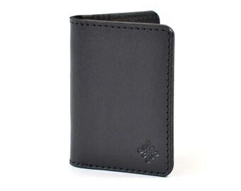 Black Leather Bifold Card  Wallet Handmade