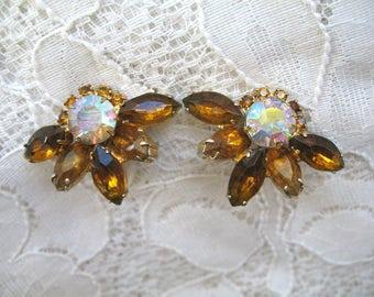 Vintage Rhinestone Earrings ~ Clip On ~ Topaz & AB Rhinestones