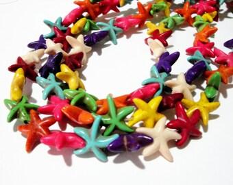 "Starfish Beads - Star Howlite Beads - Multicolored Gemstone - 13mm - 16"" Strand - Star Nautical Under The Sea - DIY Supplies Jewelry Making"
