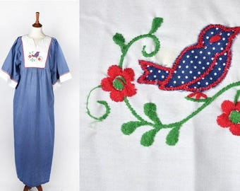 1970's Long Polka Dot Hippie Dress with Bird and Flowers || by Danville