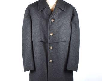 1960's Salko Tiroler Loden Overcoat, Dark Gray Overcoat with Antler Buttons