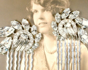 OoaK PAIR Art Deco Hair Combs, Vintage 1920s Nouveau Rhinestone Bridal HeadPiece, Small Antique Pave Silver Wedding Dress Clips to Hairpiece