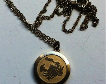 Vintage Cancer  Astrology Necklace