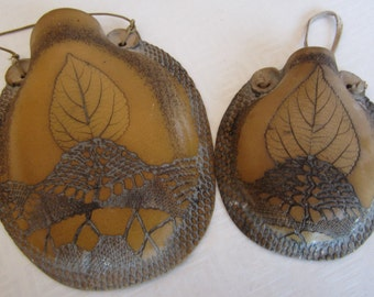Set of Two Hand Made Ceramic Wall Pocket/Planters Garden Art  Wall Art Made in Israel