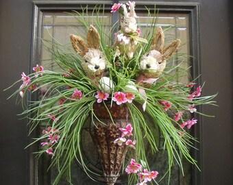 Easter Bunny Wreath, Easter Wreath, Easter Wall Pocket, Bunny Floral Arrangement, Easter Egg Wreath