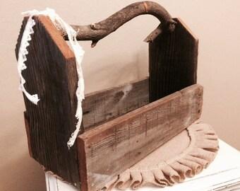 SALE Handmade rustic wood branch handle tool caddy basket box display Farmhouse