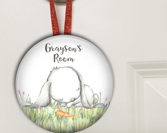 Bunny door hanger - kids door signs - personalized baby gifts for boys - HAN-PERS-12