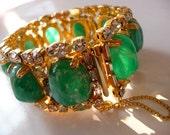 vintage Hobe flawed emerald art stones smoky rhinestone gold tone bracelet | signed | high fashion vintage