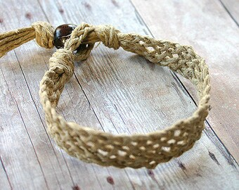 Hemp Bracelet Natural Woven Friendship Surfer