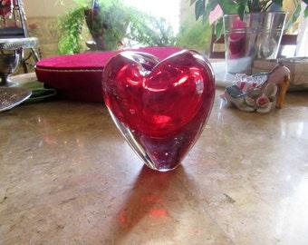 Stunningly Beautiful Red Glass Heart Vase, Valentine Heart Vase, Sweetheart Red Heart Vase, Home and Living, Home Decor, Heart Vase, Vases