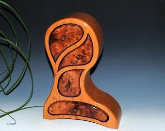 Redwood Burl on Cherry Picasso Style Handmade Wood Jewelry Box, Art Jewelry Box, Burl Wood Jewelry Box, Cherry Jewelry Box