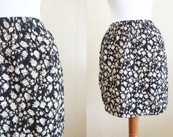 Grunge Mini Skirt 90s Rayon Floral Black Tan Small