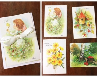 Assorted Vintage Cards and Envelopes Floral Illustrations 1980s Unused Greeting Set of 4