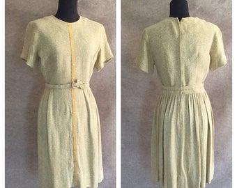 Vintage 60's Dress, Pale Green Knit, Short Sleeve, Pleated Skirt,  Women's Size Small, Bust 36, Waist 25
