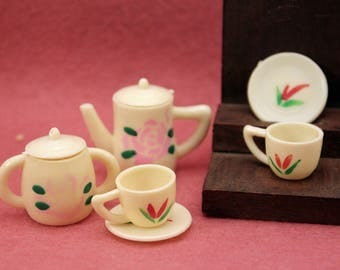 Miniature Toy Tea Set Barbie Size Vintage Pink Plastic Dollhouse Dolly Dishes