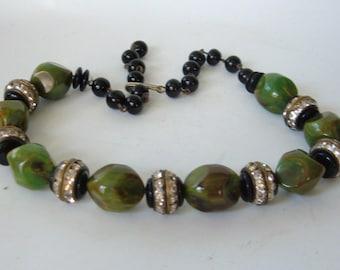 Art Deco Bakelite Bead Glass Necklace Choker Collar RHinestones Green Black Vintage