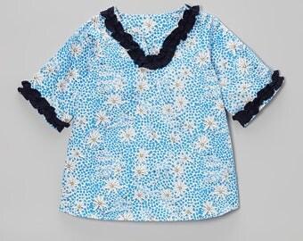 Blue Giraffes & Wildflowers Tunic for kids