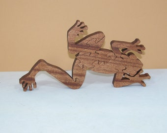 Wooden Frog Puzzle - Larger Version - Home Or Office Decor - Animal Theme Puzzle - Conversation Piece