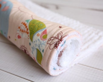 Chenille Burp Cloth - Pink Birds - Baby Girl