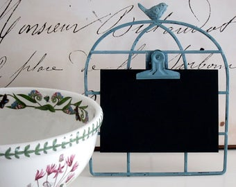Kitchen Chalkboard Bird Chalkboard Recipe Card Holder Country French Farmhouse Chalkboard Turquoise Chalkboard Birdcage Vinyl Hostess Gift
