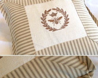 Ticking and French Bee Pillow Cover with Mitered Front, Flat Welt and Inverted Pleat Corners in different color options.