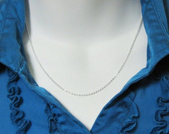 Sterling Silver Chain - Solid Flat Cable Chain - Finished , Ready to Wear - 28 inches ( 1 pc) - Long Chain Necklace - SKU: 601029