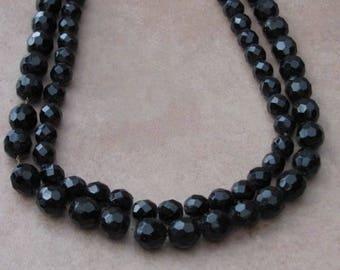 Vintage 40s - French Jet - Double strandbeads choker necklace