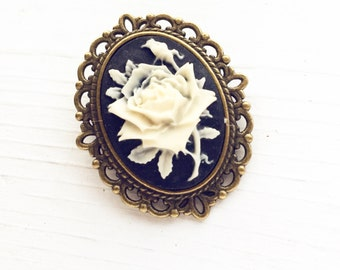 Vintage Style Rose Cameo Brooch / Small Pin Lover Gift Wedding Bridesmaid Favors Bridal Party Boutineer Bouquet Renaissance Faire Flower