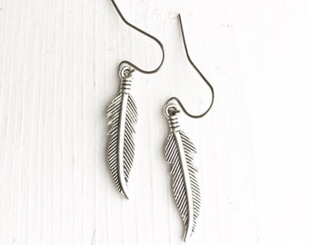 Feather Earrings / Simple Everyday Pair Bridesmaids Gifts Bridal Party Wedding Shower Favors Boho Lover Bohemian Rustic Themed on a Budget
