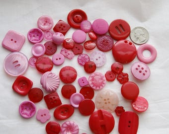 50 Buttons, Red and Pink Button Mix Assorted sizes and shapes, Art, Crafting, Sewing, Jewelry  (AG 45)