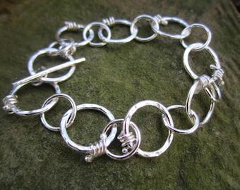 Bauble-link Bracelet in Hammered Sterling Silver