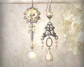 Cream Rose Asymmetrical Earrings Ivory Rose Flower Earrings Silver and Off White Gemstone Earrings Vintage Pearl Earrings Garden Wedding