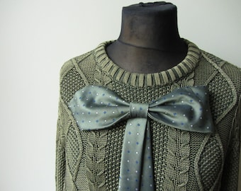 Green Oversized Sweater, Upcycled Sweaters, Sweater with Big Bow, Repurposed Neckties, Sweater Dress, Tunic Sweater, Boyfriend Sweater