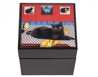 Keepsake Box, Home Sweet Apartment, Black Cat Art, Cat Lover Gift, Cat Artwork, New Apartment, Deborah Julian